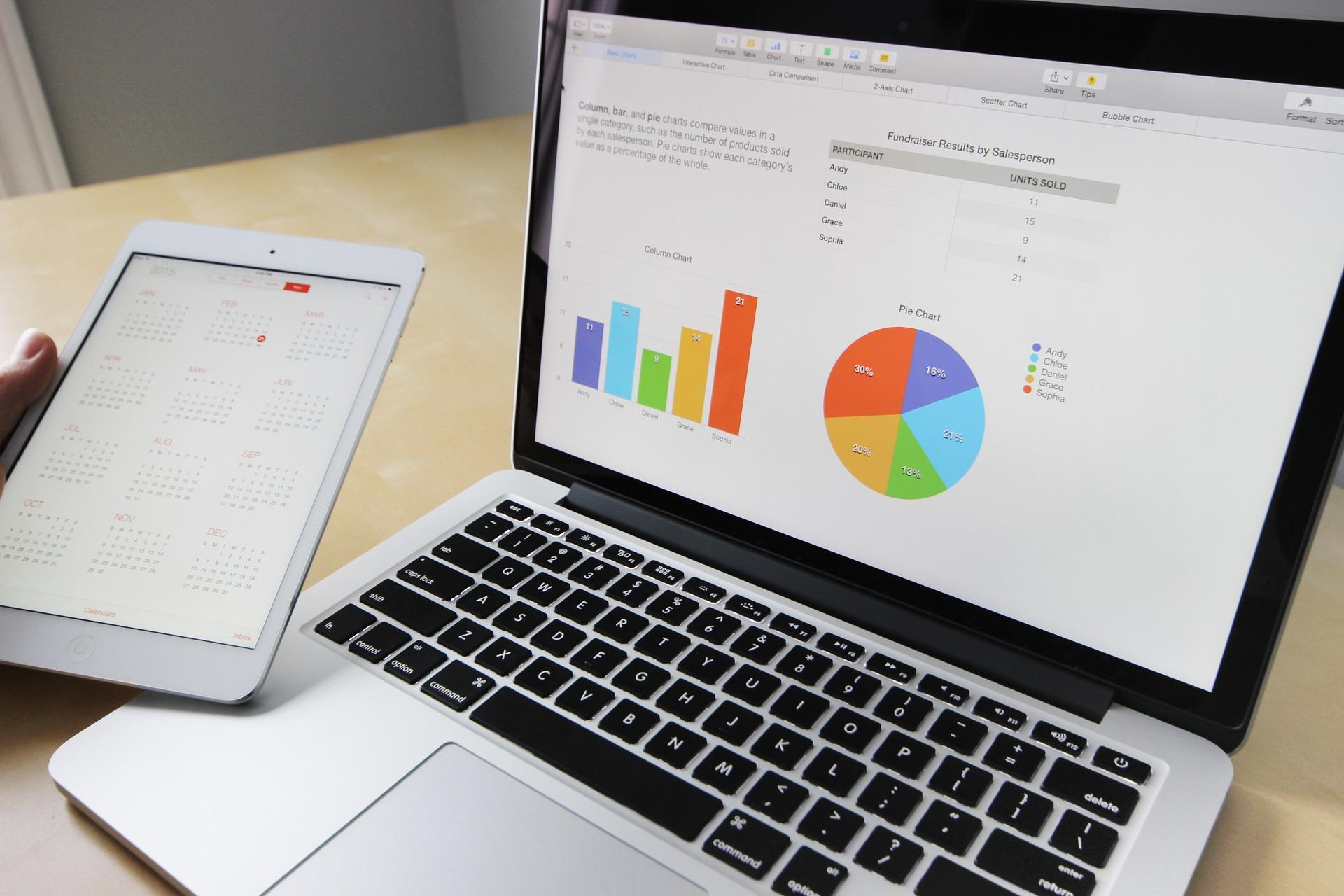 円グラフが表示されたパソコンとタブレット